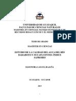 Estudio de La Calidad Del Agua Del Río Babhoyo y Sus Afluentes Ïndice Saprobio