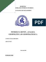 Petrolul Ieftin , Analiza Geopolitica Si Geostrategica