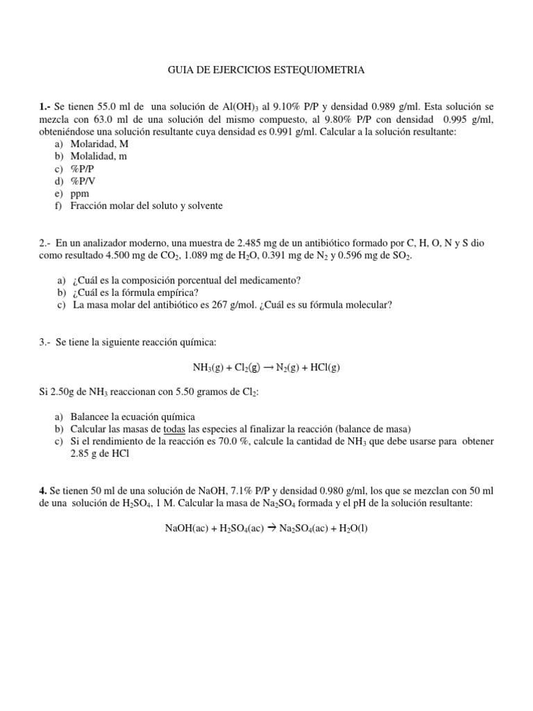 Excelente El Cálculo De Fórmulas EmpÃricas Y Moleculares Hoja De ...