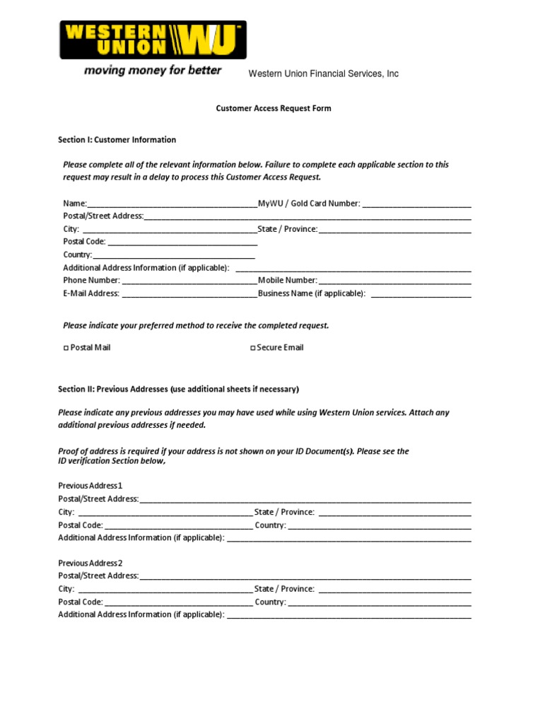 Customer Request Form | Customer Access Request Form En Pdf Identity Document Mail