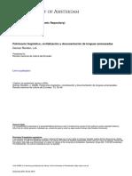 Gómez, J. (2008). Patrimonio Lingüístico, Revitalización y Documentación de Lenguas Amenazadas. Revista Nacional de Cultura Del Ecuador. Volumen 13, Pp. 35-49.