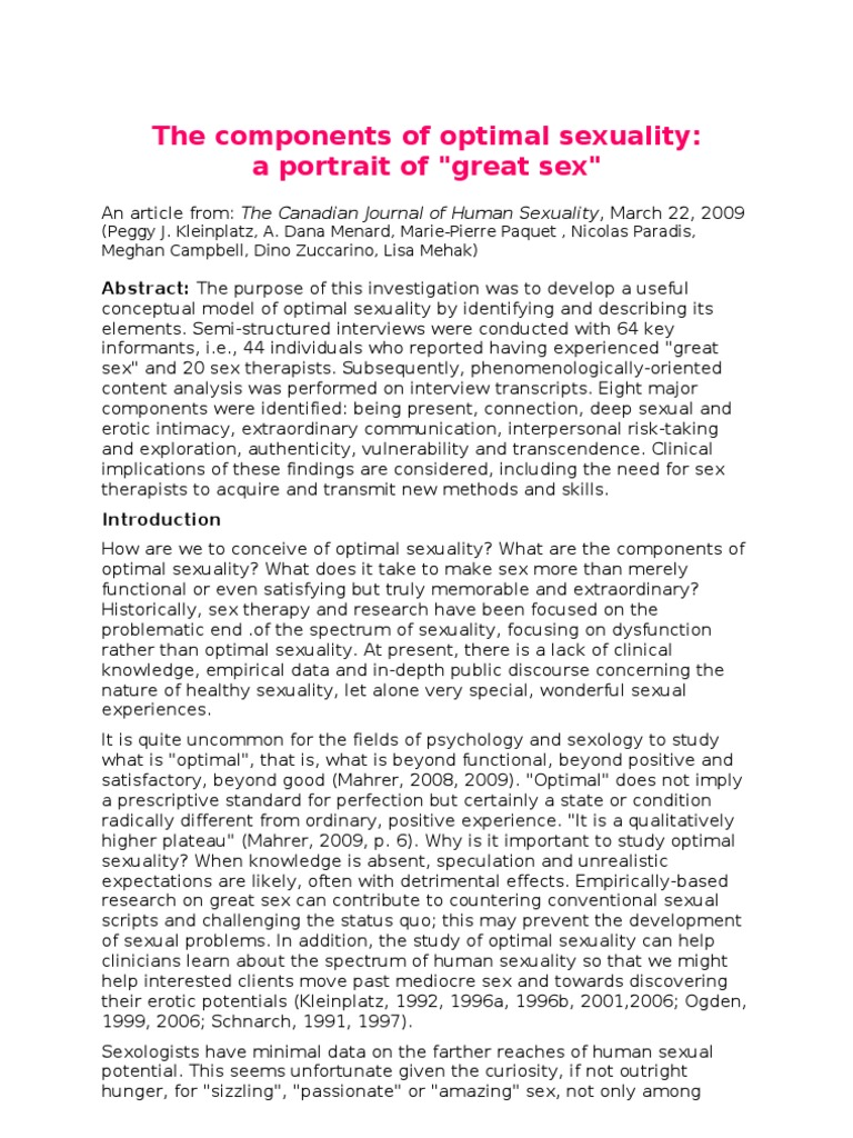The Canadian Journal Of Human Sexuality
