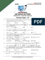 Quadratic Equation Paper 01
