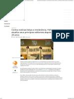 Contra Notícias Falsas e Intolerância, Folha Atualiza Seus Princípios Editoriais Depois de 20 Anos