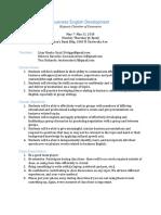 business english development syllabus and calendar