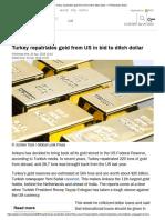 Turkey Repatriates Gold From US in Bid to Ditch Dollar — RT Business News