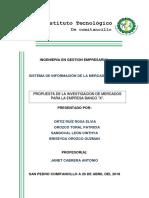 """SISTEMA DE INFORMACIÓN DE LA MERCADOTECNIA  PROPUESTA DE LA INVESTIGACIÓN DE MERCADOS PARA LA EMPRESA BANCO """"X""""."""