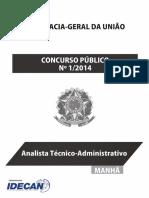Idecan 2014 Agu Analista Tecnico Administrativo Prova