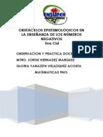 Obstáculos Epistemológicos en La Enseñanza de Los Números Negativos Eva Cid