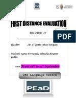 1st Distance Evaluation b4 - September