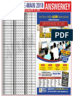 Jee Main Answer Key 2018 Allen All Sets