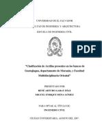 Clasificacion de Arcillas Presentes en Los Bancos de Guatajiagua Departamento de Morazan y Facultad Multidisciplinaria Oriental