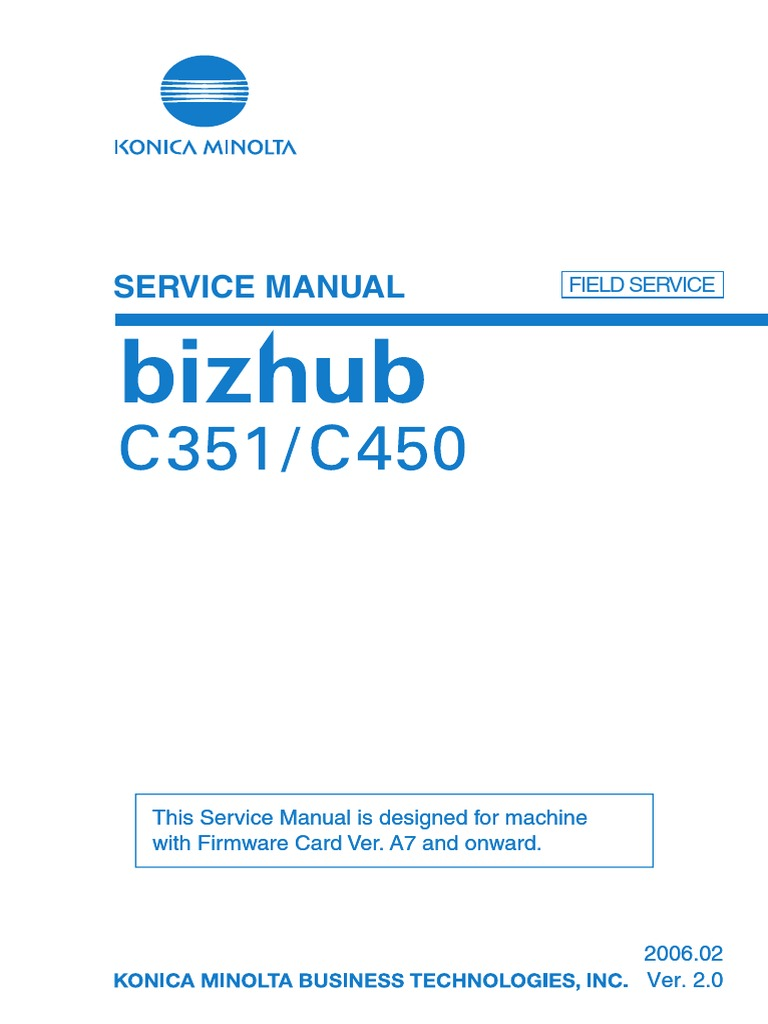 Bizhub c 351 Service Manual | Electrical Connector | Ac Power Plugs And  Sockets