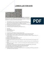 Brickwork Check List for Site Engineers