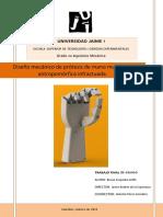Diseño Mecánico de Prótesis de Mano Multidedo Antropomórfica Infractuada.