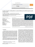 A Study of Organic Working Fluids on System Efficiency of an ORC Using Low-Grade Energy Sources