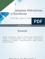 Aula 01 - Instalações Hidraúlicas e Sanitárias