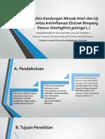 Analisis Kandungan Minyak Atsiri Dan Uji Aktivitas Antiinflamasi