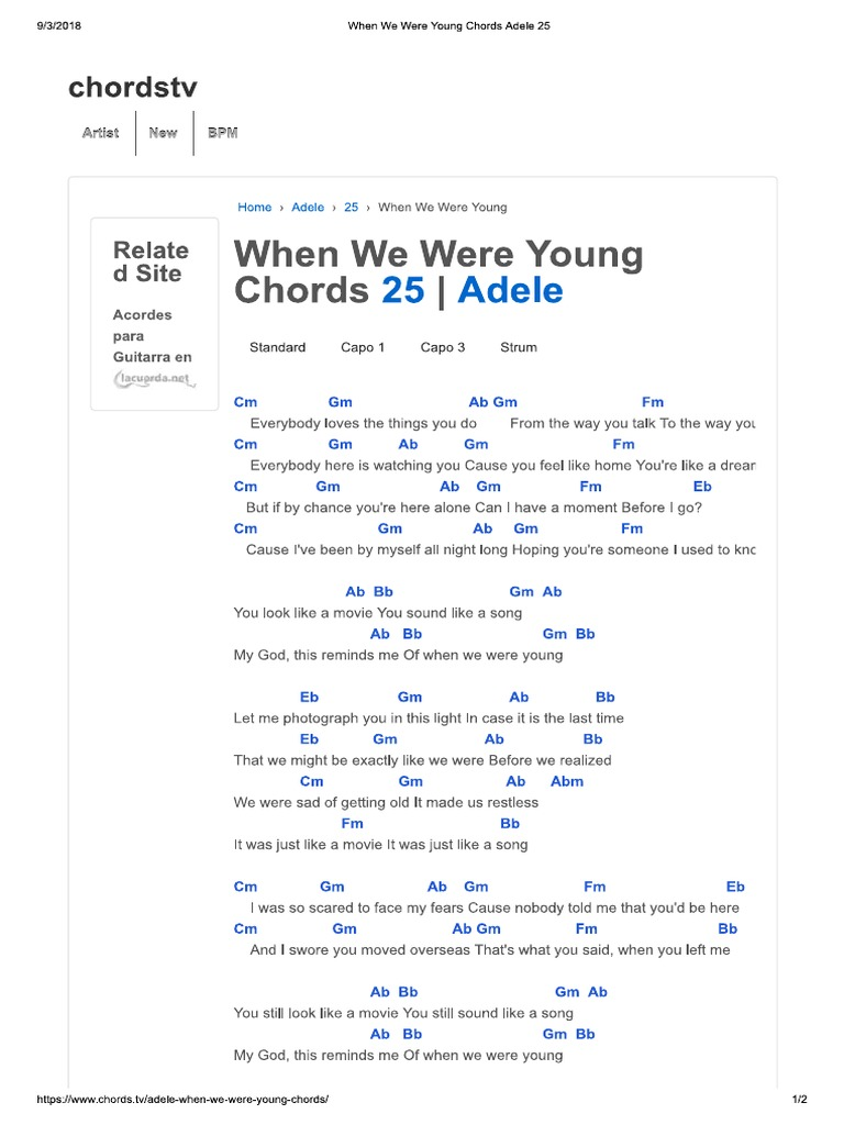 When We Were Young Chords Adele 15