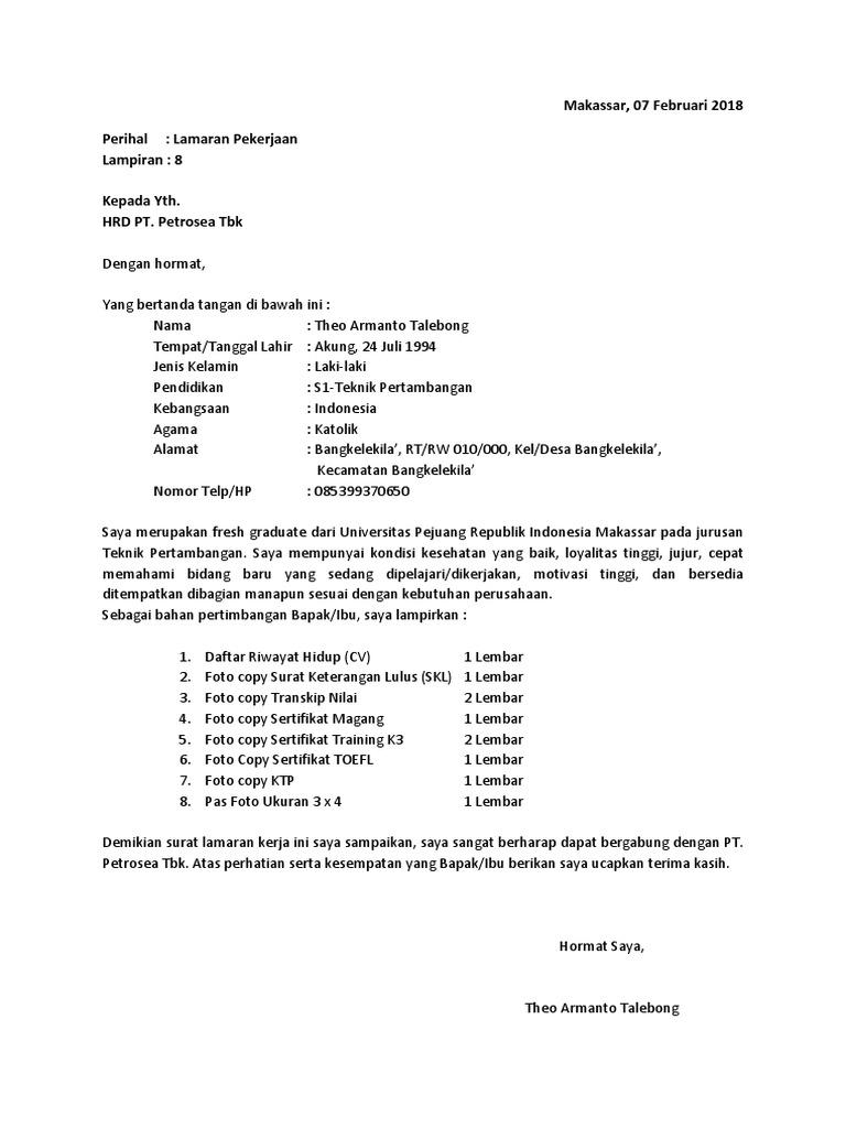 Surat Lamaran Theo Pt Petrosea Tbk