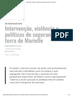 Intervenção, Violência e Políticas de Segurança Em Terra de Marielle