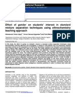 Effect of Gender on Students' Interest in Standard Mixture Separation Techniques using Ethnochemistry Teaching Approach
