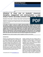 Influence  of  Class Size   on Students' Classroom Discipline,  Engagement  and  Communication