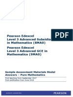 Sample Assessment Materials Model Answers–Pure for as and a Level Mathematics