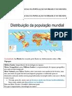 2.1 Distribuição Espacial Da População No Brasil e No Mundo.