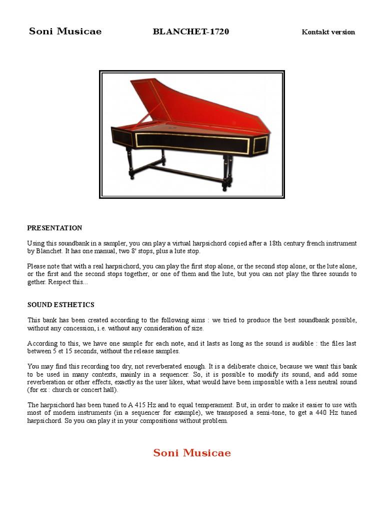 Soni Musicae Blanchet1720 K2 Eng | Harpsichord | License