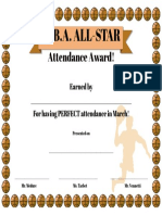 perfect attendance award - march