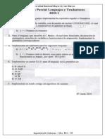 Examen Parcial de Lenguajes y Traductores 2010-I - Pariona