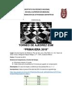 Torneo de Ajedrez ESM Primavera 2018