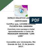 Certificado Lomi Lomi