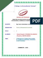 Comparativo y Comentarios Sobre Currículo Nacional, Regional e Institucional