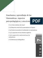 Tema7 Enseñanza y Aprendizaje de Las Matemáticas. Aspectos Psicopedagógicos y Emocionales