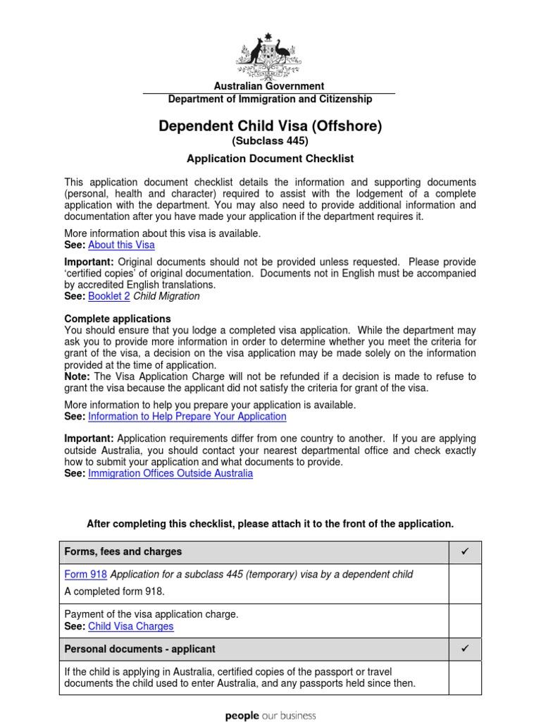 445 Checklist Travel Visa Birth Certificate
