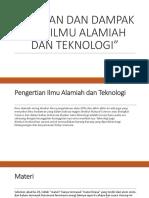 Peranan Dan Dampak Dari Ilmu Alamiah Dan Teknologi