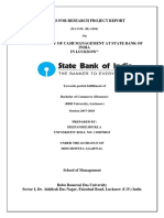 Synopsis by Deepanshi Shukla for topic Cash management at SBI