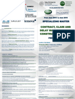 Specializing Master in CONTRACT, CLAIM, AND DELAY MANAGEMENT IN CONSTRUCTION WORKS