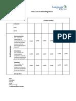 Oral Level Test Grading Sheet