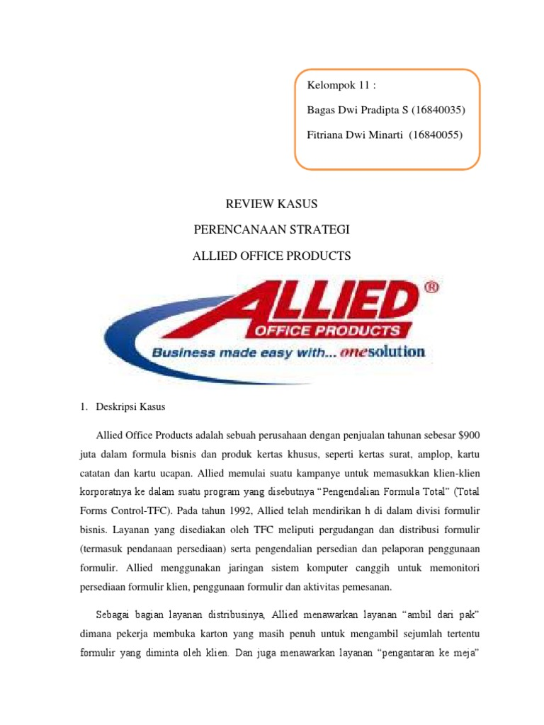 allied stationery products case study