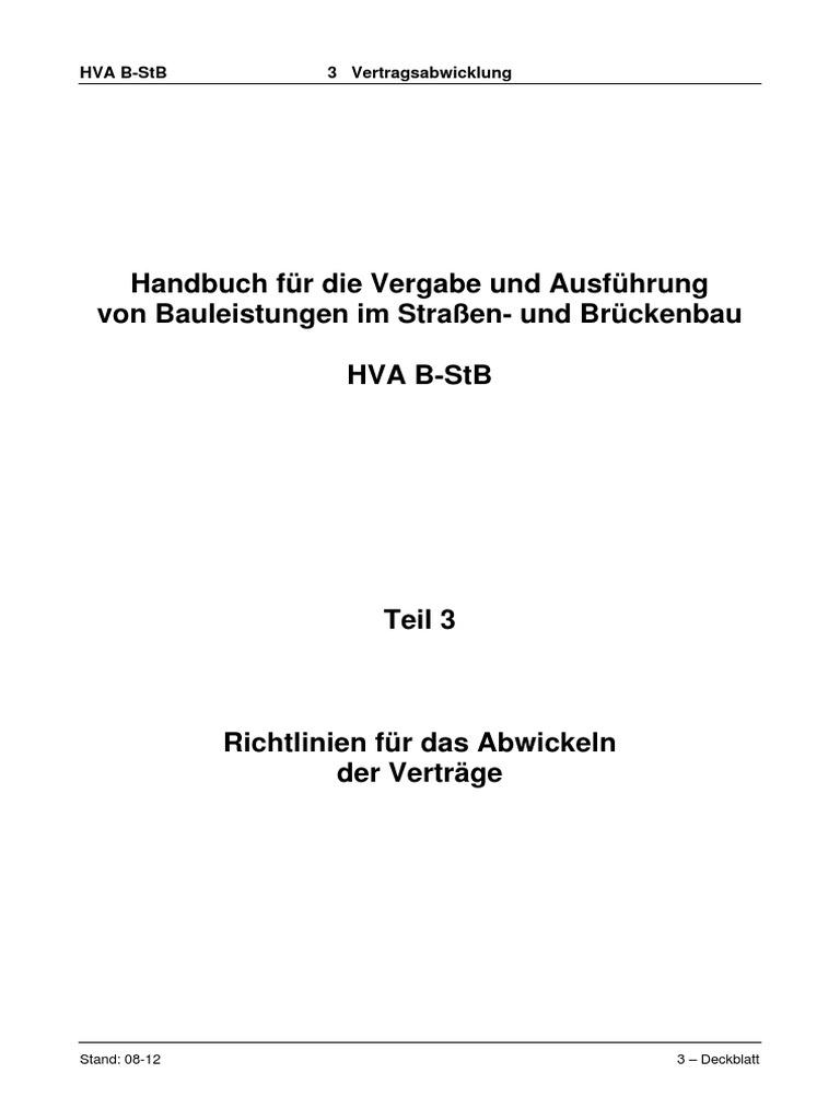 Handbuch Für Die Vergabe Und Ausführung Von Bauleistungen Im Straßen