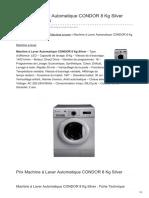 Machine à Laver Automatique CONDOR 8 Kg Silver CWD1408-D60G