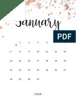 2018 Rose Gold Splatter Calendar