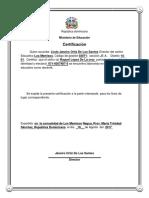 República Dominicana Certificado Satunino