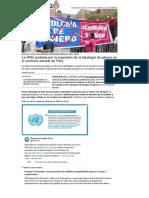 La ONU Protesta Por La Supresion de La Ideologia de Genero en Peru