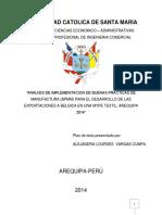 Análisis de Implementacion de Buenas Practicas de Manufactura (Bpmm) Para El Desarrollo de Las Exportaciones a Belgica en Una Mype Textil, Arequipa