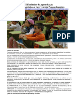 Dificultades de Aprendizaje Causas, Diagnóstico e Intervención Psicopedagógica (TEORIA)