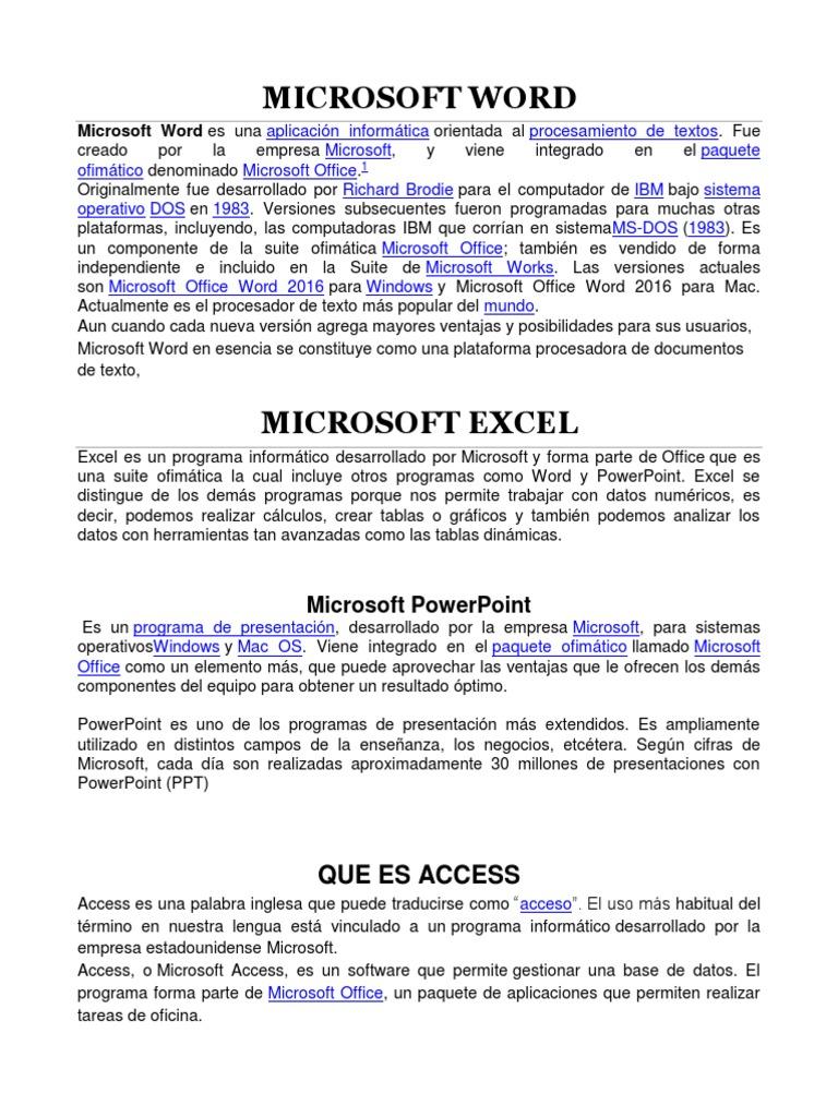 que programas incluye el paquete de microsoft office